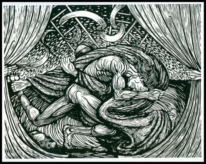 "Pen and Ink ""Jacob Wrestling the Angel of God"" by Jack Baumgartner, 2009"