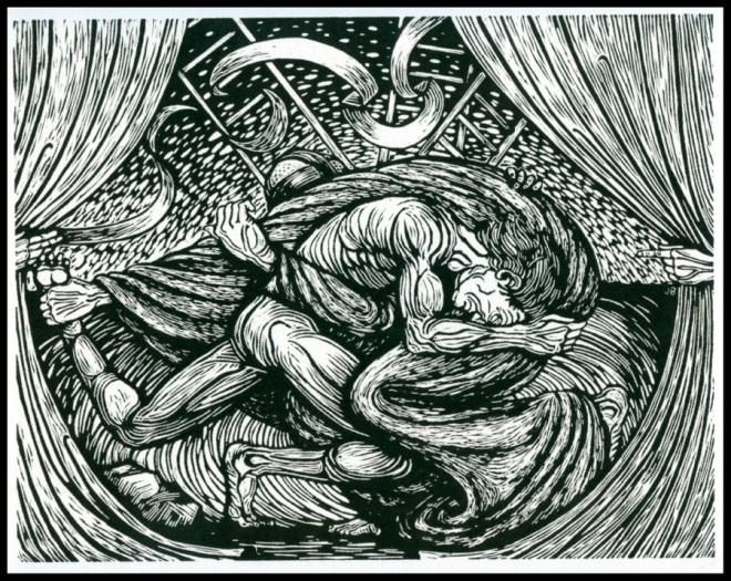 """Pen and Ink """"Jacob Wrestling the Angel of God"""" by Jack Baumgartner, 2009"""